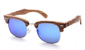 Violet sunglasses with wooden frame